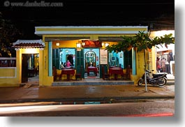 asia, buildings, hoi an, horizontal, nite, restaurants, slow exposure, vietnam, photograph