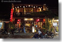 asia, buildings, hoi an, horizontal, nite, restaurants, vietnam, photograph