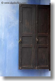 asia, blues, browns, doors, hoi an, vertical, vietnam, walls, photograph