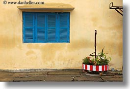asia, blues, hoi an, horizontal, shutters, vietnam, walls, windows, yellow, photograph