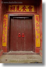 asia, doors, hoi an, knockers, red, vertical, vietnam, photograph
