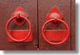 asia, doors, hoi an, horizontal, knockers, red, vietnam, photograph