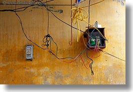 asia, electrical, hoi an, horizontal, vietnam, walls, wires, yellow, photograph