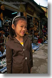 asia, browns, childrens, girls, hoi an, laughing, people, suit, vertical, vietnam, photograph