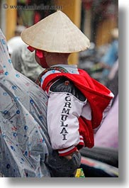asia, boys, childrens, conical, hats, hoi an, people, toddlers, vertical, vietnam, photograph