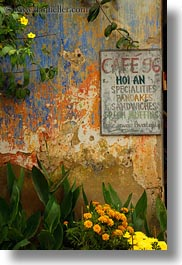 asia, cafes, hoi an, signs, vertical, vietnam, photograph