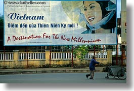 asia, billboards, hoi an, horizontal, signs, vietnam, photograph