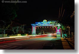 arches, asia, hoi an, horizontal, lights, long exposure, streaks, streets, vietnam, photograph