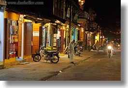 asia, hoi an, horizontal, motorcycles, nite, streets, towns, vietnam, photograph