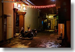 asia, hoi an, horizontal, motorcycles, nite, slow exposure, streets, towns, vietnam, photograph