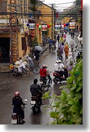 asia, hoi an, motorcycles, rainy, streets, vertical, vietnam, photograph