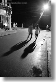 asia, black and white, hoi an, long, people, shadows, slow exposure, streets, vertical, vietnam, photograph