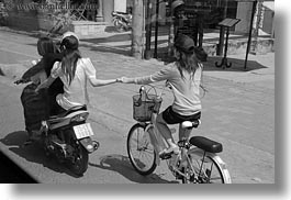 asia, bikes, black and white, girls, hands, holding, horizontal, hue, motorcycles, vietnam, photograph