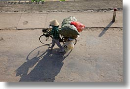 asia, bicycles, bikes, conical, hats, horizontal, hue, vietnam, womens, photograph