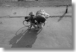 asia, bicycles, bikes, black and white, conical, hats, horizontal, hue, vietnam, womens, photograph