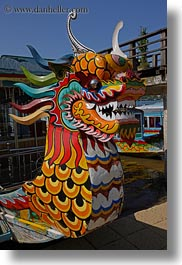 asia, boats, colorful, dragons, hue, vertical, vietnam, photograph