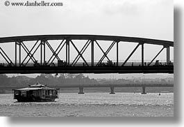 asia, black and white, boats, bridge, ferry, going, horizontal, hue, under, vietnam, photograph