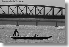 asia, black and white, boats, horizontal, hue, paddling, standing, vietnam, photograph