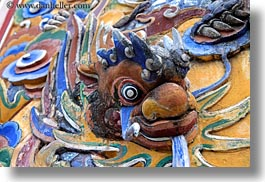 asia, bas reliefs, citadel, colorful, dragons, horizontal, hue, vietnam, photograph