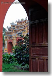 arches, asia, citadel, doors, hue, pagoda, red, vertical, vietnam, photograph