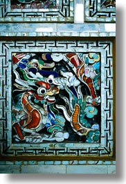 arts, asia, colorful, hue, khai dinh, mosaics, ornate, tiles, vertical, vietnam, photograph