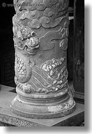 asia, bas reliefs, black and white, dragons, hue, khai dinh, poles, statues, tu duc tomb, vertical, vietnam, photograph