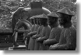 asia, black and white, horizontal, hue, khai dinh, soldiers, statues, stones, tu duc tomb, vietnam, photograph