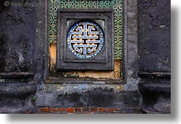 asia, horizontal, hue, khai dinh, ornate, round, tu duc tomb, vietnam, windows, photograph