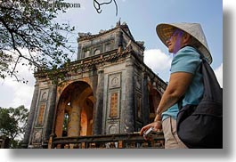 asia, clothes, conical, hats, horizontal, hue, khai dinh, pavilion, stele, tourists, tu duc tomb, vietnam, womens, photograph