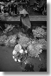 asia, black and white, hue, market, men, old, produce, selling, vertical, vietnam, photograph