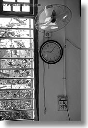 asia, black and white, clocks, fans, hue, vertical, vietnam, windows, photograph