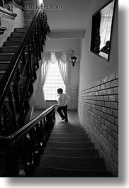 asia, black and white, hue, men, stairs, vertical, vietnam, photograph