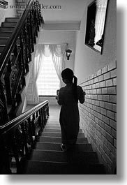 asia, black and white, hue, stairs, vertical, vietnam, womens, photograph