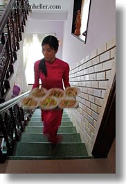 asia, carrying, foods, hue, stairs, tray, vertical, vietnam, womens, photograph