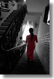 asia, color composite, hue, red, stairs, vertical, vietnam, womens, photograph