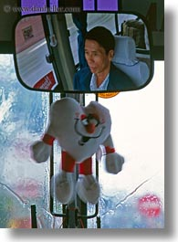asia, asian, bus, drivers, hue, men, mirrors, people, vertical, vietnam, photograph