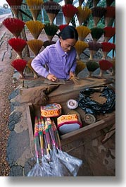 asia, asian, hue, incense, maker, men, people, vertical, vietnam, womens, photograph