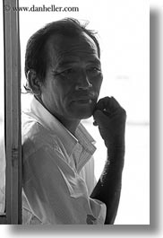 asia, asian, black and white, emotions, hue, men, people, thoughtful, vertical, vietnam, photograph