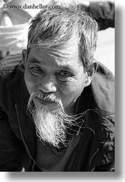 asia, asian, beards, black and white, hue, men, people, senior citizen, vertical, vietnam, white, photograph
