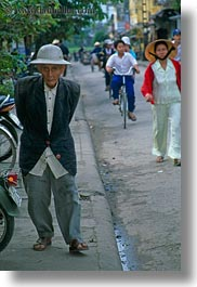 asia, asian, hue, men, old, people, senior citizen, vertical, vietnam, walking, photograph