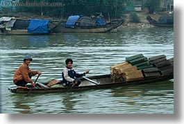 asia, asian, boats, horizontal, hue, men, people, vietnam, photograph