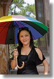 asia, asian, emotions, hue, people, rainbow, smiles, tourists, umbrellas, vertical, vietnam, womens, photograph