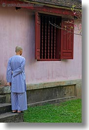 asia, blues, hue, monks, thien mu pagoda, vertical, vietnam, windows, photograph