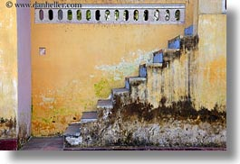 asia, blues, horizontal, hue, stairs, thien mu pagoda, vietnam, walls, yellow, photograph