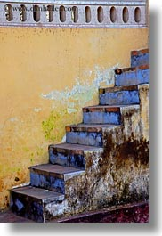 asia, blues, hue, stairs, thien mu pagoda, vertical, vietnam, walls, yellow, photograph