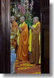 asia, doorways, hue, monks, praying, thien mu pagoda, vertical, vietnam, photograph