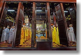 asia, doorways, horizontal, hue, monks, praying, thien mu pagoda, vietnam, photograph