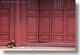 asia, doors, horizontal, hue, red, sandals, thien mu pagoda, vietnam, photograph