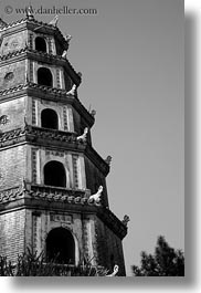 asia, black and white, hue, pagoda, thien, thien mu pagoda, vertical, vietnam, photograph