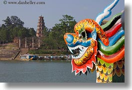 asia, colorful, dragons, horizontal, hue, pagoda, thien, thien mu pagoda, vietnam, photograph